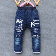 Bibicola winter boys pants kids boys jeans pants thick warm trousers jeans for children Winter pants for boy children jeans(China)