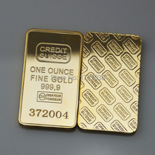 50pcs/lot Wholesale 1oz Switzerland Credit Suisse no copy gold bullion bar laser serial number  free shipping