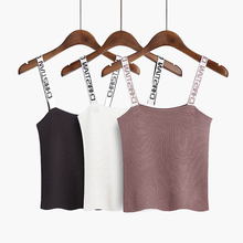 Yichaoyiliang Summer Beach Sexy Women Short Camis Letters Embroidery Straps Knitted Camisole Sleeveless T Shirt Fitness Shirt(China)