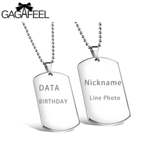 GAGAFEEL Engrave Necklace Military Pendant  Dog Tag Card Laser Custom Logo Diy Jewelry Women Men Lovers Stainless Steel Gifts