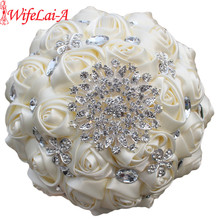 Buy WifeLai-A 1Piece Custom Cream Ivory Artificial Flowers Bridal Bouquets Stunning Crystal Stitch Bridesmaid Wedding Bouquets W236 for $14.93 in AliExpress store