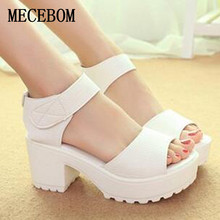 2017 New Summer Pep-toe Woman Sandals,Platform Thick Heel Summer Women Shoes Hook & Loop Fashion All Match Shoes For Ladies 901W