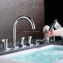 Bathtub Sink Round Style Gooseneck Water Outlet Faucet Shower Deck Mount Bath Tub Mixer Tap With Pull Out Handheld Shower Spray(China)