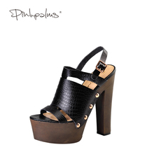 Pink Palms ladies summer shoes black color high wedge shoes metal decoration high heels ankle strap comfortable party sandals