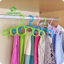 7 Ring Hole Round Tie European Clothes Scarves Storage Rack Cloth Rotate Save Space Closet Organizer Scarf Hanger Hangers(China)