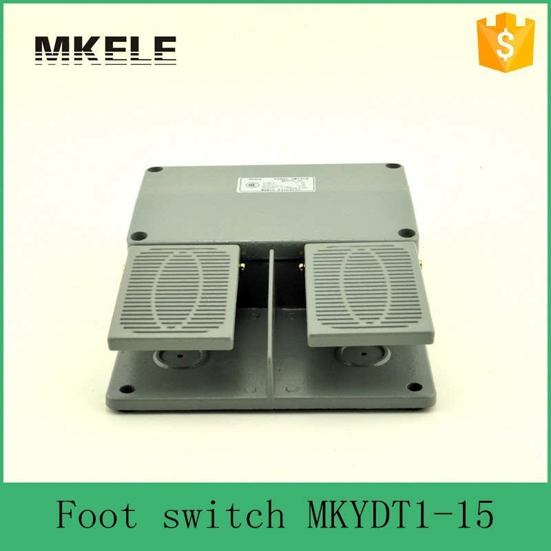 MKYDT1-15 New Fashion Design CE Certificate AC 220V 10-15A Guaranteed Aluminium Alloy Double Pedal Switches Foot Switches <br>