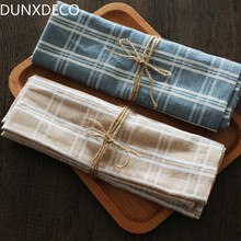 DUNXDECO Table Placemat Tea Towel Napkin Plate Cover Mat Blue Check Linen Cotton Table Fabric Bar Coffee Store Decoration