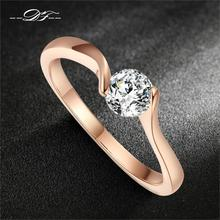 Cubic Zirconia Engagement Finger Rings Rose Gold Color Fashion Brand CZ Stone Wedding Crystal Jewelry For Women DFR239