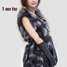 New Low! Real Natural Genuine fox fur vest women's long fox fur vest OEM/Retail/Wholesale custom big size THP397B
