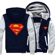 Dropshipping Winter Thicken Fleece For Men Hoodie Superman Jacket Sweatshirts Coat Clothing(China)