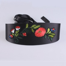 Flower embroidery belts for women dress Black denim canvas corset belt 2017 high quality sexy bow tie fabric wide belts