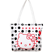 Fashion Large Space Women Canvas Handbag Zipper Shopping Shoulder Bag Paris Hello Kitty Pattern Girls Beach Bookbag Casual Tote