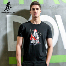 Pioneer Camp New short T shirt men brand clothing fashion pattern printed T-shirt male quality stretch casual Tshirt ADT705007