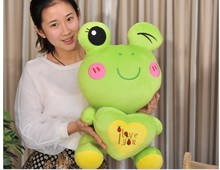 middle green lovely plush cartoon frogs toy soft cute frog doll with heart about 50cm