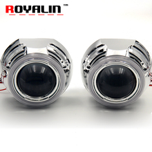 ROYALN 3.0 Metal H1 Bi Xenon Lens HID Projector Headlights Apollo COB Angel Eye LED Daytime Running Lights for H4 H7 Car Styling(China)