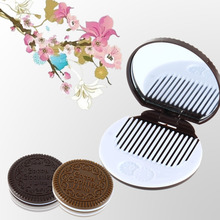 2pcs Cute Chocolate Cookie Shaped Design Makeup Mirror with 1 Comb Lady Women Makeup Tool Pocket Mirror Drop Shipping Wholesale(China)