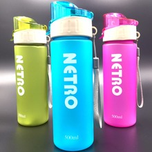 New My Designer 500ml frosting Scrub Plastic Sports Water Bottle Straw For Outdoor bike Drinking Bottles free shipping