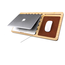 Fashion Natural Bamboo Laptop Stand  for MacBook, Laptop 11in up to 15in and Hollow-out Cooling Laptop Cooler Tablet Lap Desk
