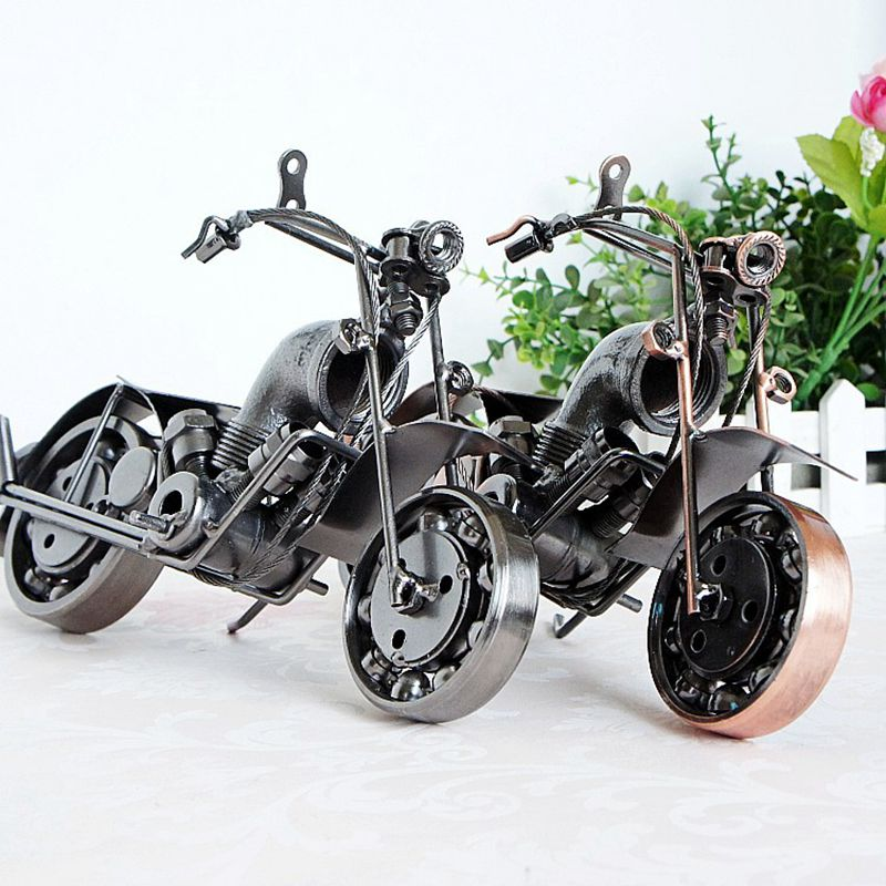 Hot sell Creative wrought iron wares Retro Vintage Motorcycle Model Iron Metal Crafts Bar Desktop Home Decor Birthday Gift(China)