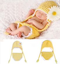 Lovely Daisy Flower Crochet Baby Hat&Diaper Set Knitted Newborn Baby Photo Props Infant Handmade Outfit,photo props newborn1set