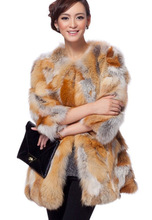 Real natural genuine women's fashion fox fur coat ladies sexy medium-long fur jacket outwear can be customed any size