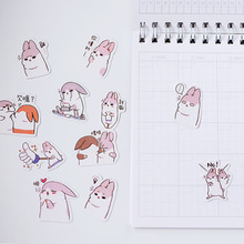 40pcs/lot New Japanese Cute Little Fat Rabbit Sticker Scrapbook Paper Lable Stickers Crafts Decorative Notebook DIY Memo Sticker