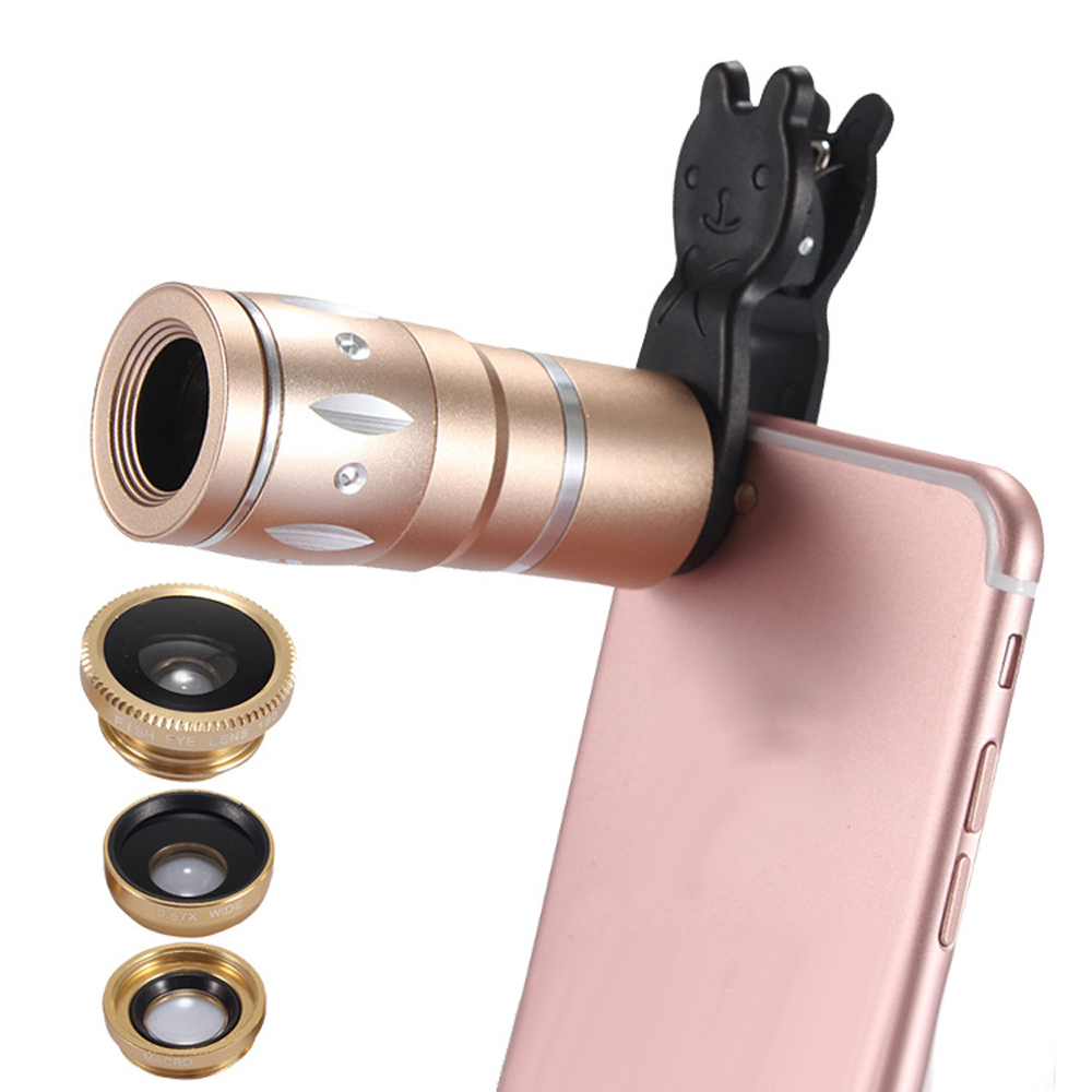 JRGK Universal 10X Camera Telephoto Lens mobile Phone Telescope with Rabbit Clip 4 in 1 Wide Angle Macro Mobile Phone Len 5