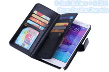 For Samsung Galaxy Note 4 Mobile Phone Case Luxury 9 Card Holders Flip Leather Wallet Fundas Cell Phone Cases For Samsung Note 4(China)