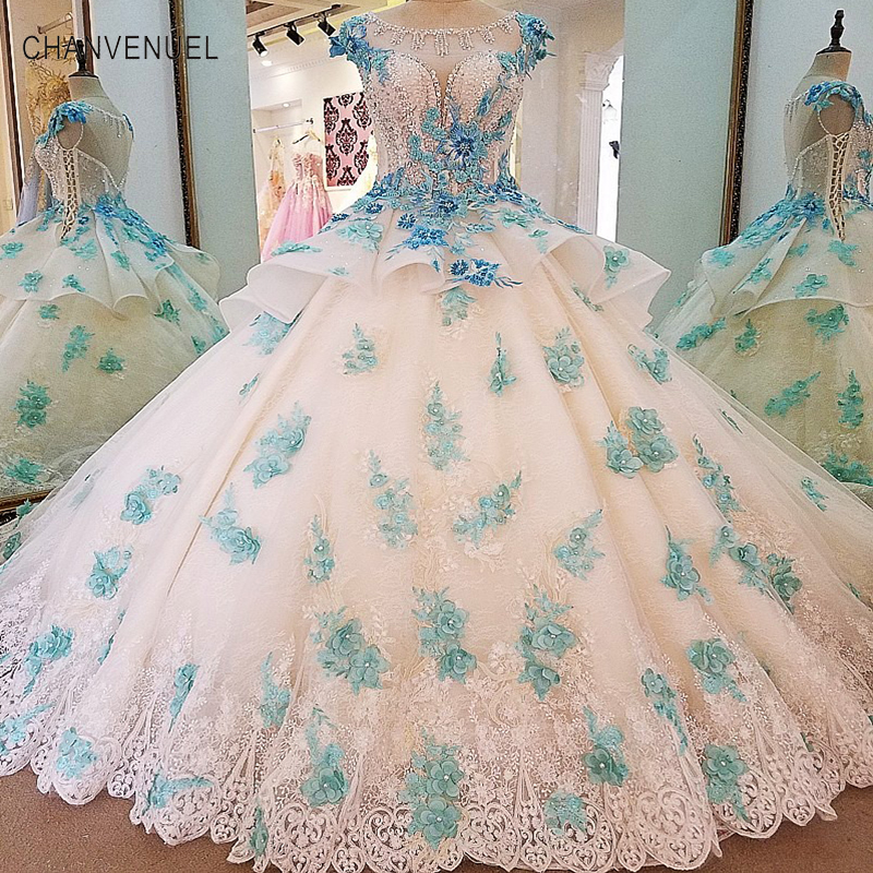 LS00032 Gorgeous ivory bridal gown blue lace short sleeves ball gown lace wedding dress vestidos de noivas real photos