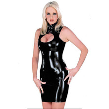 Buy Sexy Black Vinyl Night Club Dress Erotic Sleeveless Bandgae Short Robe Women Faux Leather Latex Catsuit Dress Clubwear