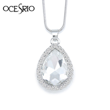 Elegant White Crystal Heart Pendant Necklace Silver Box Chain Necklaces Pendants Women Fashion Jewelry for Wedding Dress nke-m61