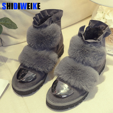SHIDIWEIKE Fashion rabbit fur Faux Suede womans winter snow boots for women winter shoes rabbit fur Pleated high quality M243(China)