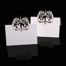 50pcs Laser Cut Love Birds Heart Wedding Banquet Place Name Cards Table Decoration White