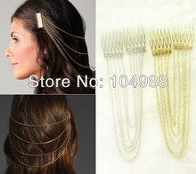 FREE SHIPPING NEW HAIR CLAW CHAIN NECKLACE SILVER OR GOLD HAIR CLAWS