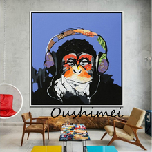 Hand Painted Oil Painting Abstract Animal Paintings Funny Monkey Painting For Living Room Decor Wall Art Pictures Music