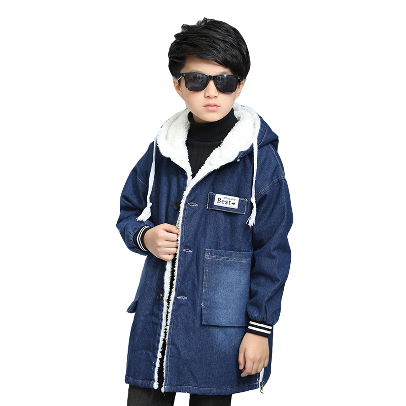 Winter Denim Jackets For Boys Children Jeans Jackets Plus Thick Lambswool Coats Warm Teenage Boys Outerwear 6 8 10 12 14 15Years<br>