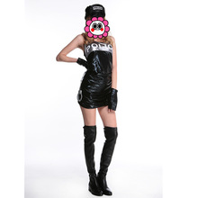Buy 2016 Police Party Costume Sexy Female Police Uniform Police Sex Cosplay Leather Latex Bandage Cop Uniform 5PCS One Size