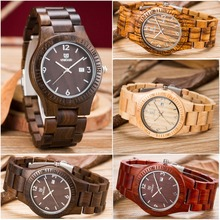 2016 New Casual Wooden Watch Men Luxury Brand Fashion Mens Quartz Watch Date Luminous Waterproof Male Wood Wristwatches relogio