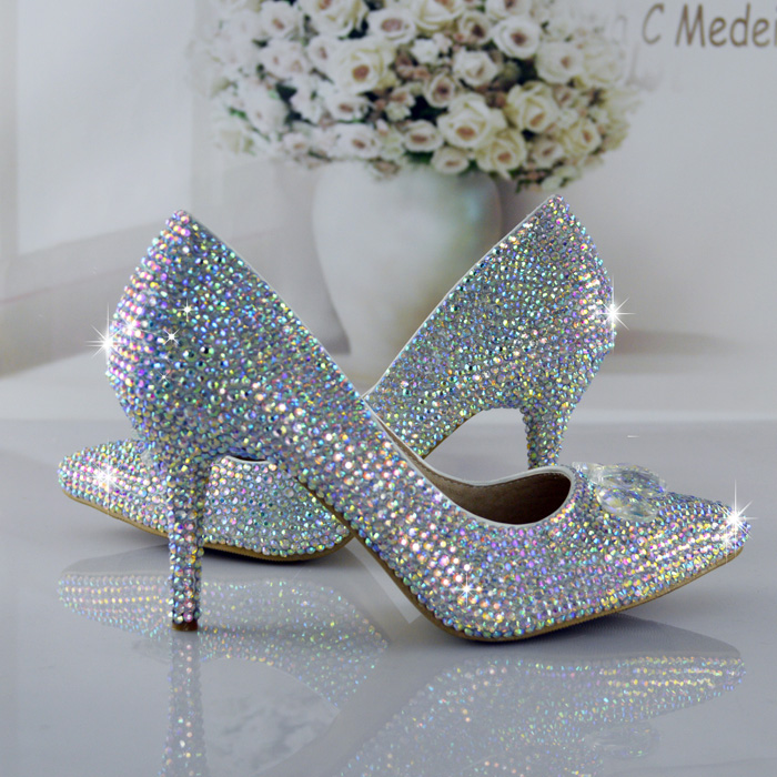 AVVVXBW Wedding Shoes Woman Handmade Crystal Rhinestone Pointed Toe High-heeled Shoes Bride Party Shoes Spatos Femininos<br><br>Aliexpress