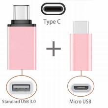 2in1 Type C to USB OTG Adaptor + Type-C to Micro USB Adapter For Huawei Honor 8 Lenovo Zuk Edge Leeco Le 2 Accessories Rose Gold(China)