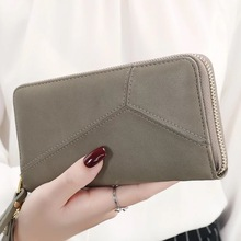 2018 korea style geometric women wallet zipper big capacity cell phone coin bag clutch wristlet long female purse carteras N650(China)