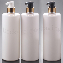 500ml empty Multicolor cosmetic PET aluminum lotion luxury bottles ,gold lotion shampoo pump bottle cosmetic packaging container(China)