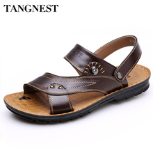 Buy Tangnest Summer Sandal 2017 New Men's PU Leather Sandals Men Fashion Cool Slippers Male Casual Beach Shoes Man Flats XML098 for $15.99 in AliExpress store
