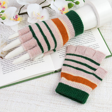 REALBY 2017 Fashion Wrist Striped Womens Gloves Fingerless Winter Gloves  Wool Knitted Mittens Sport Warm Gloves Guantes A6711