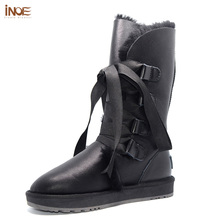 INOE fashion lace up snow boots for women bootlace real sheepskin leather natural wool fur lined girls winter shoes waterproof(China)