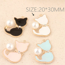 20*30mm 10x/lot Cat Pearl Drops of Oil Charms Zinc Alloy Charm for DIY Jewelry Making Bracelet&Necklace&Bangle Accessories