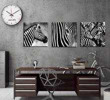 3 Panel No Frame Wall Art Black and White Zebra Wall Art Picture Canvas Oil Painting by Numbers Home Decor