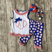 kids Baseball season clothes baby girls HEART baseball clothing girls summer shorts boutique outfits with accessories(China)