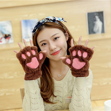 Tnine New Winter Womne's Fluffy Bear/Cat Plush Paw/Claw Glove-Novelty soft toweling Women half covered gloves mittens christmas(China)