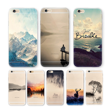 Nature Landscape Scenery Case For iphone 7 6 6S plus Clouds Fishing Sea Chinese building View Hard Back Cover For iphone 6 case(China)